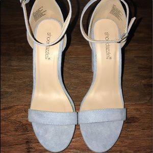 Light baby blue wedged heels